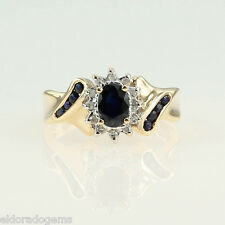 LADY'S 1.00 CT. SAPPHIRE & HALO DIAMOND COCKTAIL RING 14K WHITE GOLD SIZE 6
