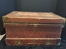 Antique Tool Chest Box with Drawer in Original Red Paint