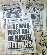 3 FULL SIZE HARRY POTTER DAILY PROPHET PAGES