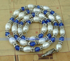"""17"""" White Pearl & Tibet Silver & Crystal Necklace   FJUS"""