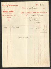 """PARIS (XIX°) CONCESSIONNAIRE de MACHINES AGRICOLES """"MASSEY - HARRIS"""" en 1911"""