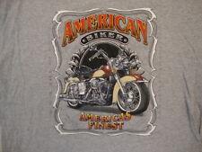 American Biker America's Finest Motorcycle Chopper Fan Gray T Shirt L