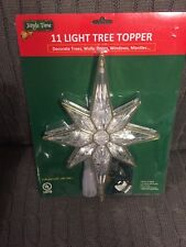 """11"""" Gold accent Lighted Bethlehem elongated Tree Top Topper Star 11 white lights"""