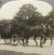 Keystone Stereoview of an Old-Time Horse Drawn Open Carriage From Vehicles Set