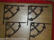 """Set/4~Rustic Nautical Ship Anchor Iron Wall Shelf Support Brackets 8-10"""" Shelf"""