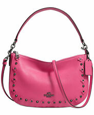 NWT COACH Floral Rivets Leather Chelsea Crossbody Dahlia Pink Dark Nickel 37711