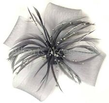 Looped Feather Beak Clip Fascinator Ladies Day Races Wedding Royal Ascot Brooch