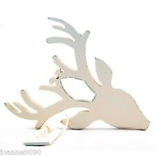 EAST OF INDIA REINDEER STAGS HEAD WOODEN CHRISTMAS TREE DECORATION OR GIFT TAG