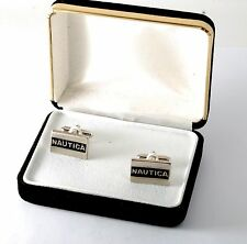 NEW DESIGNER NAUTICA SILVER PLATED METAL LOGO TYPE  CUFF LINKS NWOT IN BOX