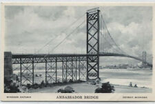 AMBASSADOR BRIDGE~DETROIT,MI TO WINDSOR,ONTARIO CANADA POSTCARD
