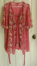 Betsey Johnson Intimates Women's Pink Floral 2 Set Babydoll and Robe Size L