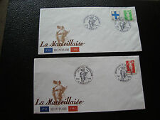 FRANCE - 2 enveloppes 20-21/6/1992 (bicentenaire marseillaise) (cy73) french