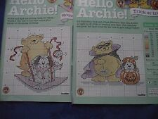 MARGARET SHERRY ADORABLE ARCHIE BEAR TRICK OR TREAT/WRAPPING  CROSS STITCH CHART