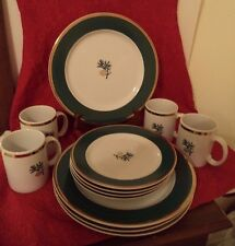 Eddie Bauer Plates Cups Dishes Pine Cone Thailand 12 pieces 4 Place Settings