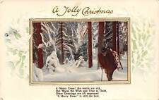 A Jolly Christmas, Xmas, Warm Wishes, Greetings, Winter Forest, Sledge 1912