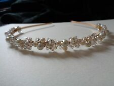 Ivory glass pearl & clear crystal gold hairband headband bridal bridesmaid prom