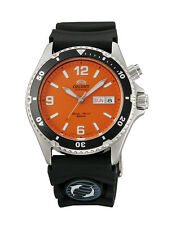 NEW Orient Mako Rubber EM65004MW FEM65004MW Orange Dial Men's Diver Watch