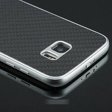 For Samsung Galaxy S7 Silver Metal Aluminum Frame+Carbon Fiber Back Stand Case