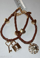 NWT Guess Gold-tone Metal-Clear Rhinestones-Brown Woven Charm Bracelet Set/2