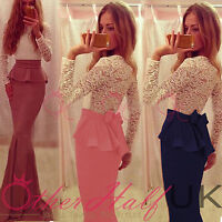 UK Women Formal Lace Long Maxi Dress Prom Party Cocktail Bridesmaid Wedding