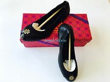 Tory Burch Jolie Ballet Flat Shoes Black Leather Double-T Logo 7.5 NEW AUTHENTIC