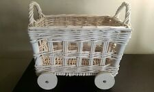 WHITE SHABBY COTTAGE CHIC VNTG Woven Wicker Magazine Basket Rack Holder wheels