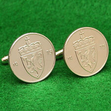 Norwegian Coin Cufflinks, Coat of Arms Crowned Lion, 50 Ore, Norway Scandinavia