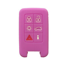 Purple 6 Buttons Silicone Remote Key Fob Skin Cover Protector Jacket for Volvo