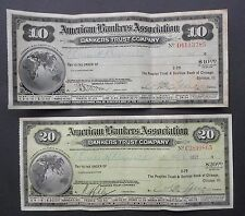 1917 AMERICAN BANKER ASSOC.  $10  & $20 EARLE H. REYNOLDS TRAVELERS CHEQUES