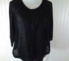 EILEEN FISHER Black Linen Tunic Sweater Size Large Crew Neck misc11