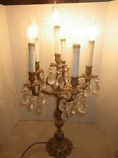 Vintage Hollywood Regency 6 Light Lamp Brass Candelabra 70 Crystal Prisms