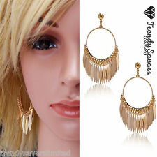 Women Vintage 18K Gold Plated Feather Pendant Classical Drop Dangle Earrings