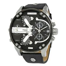 NEW MENS DIESEL (DZ7313) BIG DADDY 2.0 SBA BLACK SILVER LEATHER STRAP WATCH