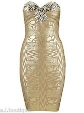 Bandage gold metalic jewel bodycon celeb fitted mini dress 8 10 Small BNWT RAYON