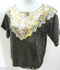 Joseph Le Bon VTG 80's silver gold Embellished Party Evening Formal Top Blouse S