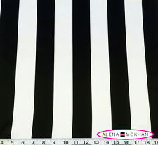 "1 yard BLACK WHITE 2"" STRIPES SATIN FABRIC Home Decor Wedding"