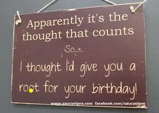 Happy Birthday R*ot Sign - naughty cute bar mancave wooden country rustic sign
