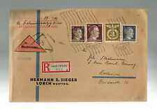 1943 Lorch Germany Registered Cover to Bochum Herman Sieger Sender