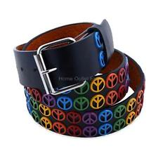 Metal Peace Sign Studded Leather Belt Hippie 60s Symbols Vintage Unisex Womens