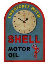 SHELL MOTO OIL  TIN SIGN CLOCK  Lubricate with ...