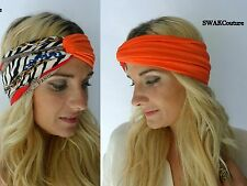 Turban HeadBand Couture Chain Head Wrap Head Scarf Twist Headband Orange Black