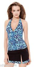 Profile Gottex Pepita Skirted Tankini 2Pc Set Sz 12 Swimsuit NWT $172 Blue Black