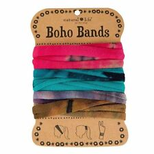 NATURAL LIFE SET OF 3 TIE DYE YELLOW TURQUOISE PINK BOHO BANDS BRACELET HEADBAND