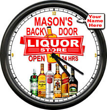 Personalized Your Name Liquor Store Bar Tavern Man Cave Alcohol Sign Wall Clock