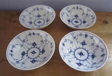 """4 Royal Copenhagen Plain Blue Fluted Soup Cereal Bowls 290 6.25"""" 1st Qual Exclnt"""