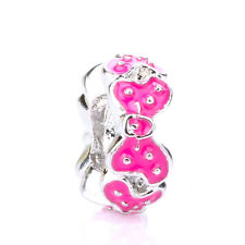 925 Silver Retro Dot Girl Mouse Rosered Bowknot Spacer Charm Bead Fit Bracelet