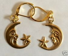 MOON AND STAR RAW BRASS DETAILED HANDMADE EARRINGS FOR PIERCED EARS