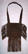 VINTAGE 1960`s HIPPIE SUEDE LEATHER BEADED FRINGE PURSE