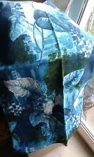 Fab Vintage Barkcloth Curtains Fabric Upcycle Turquoise Blue Green Leaves