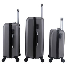3Pcs Luggage Travel Set Trolley Suitcase w/TSA Lock & ABS Spinners Grey